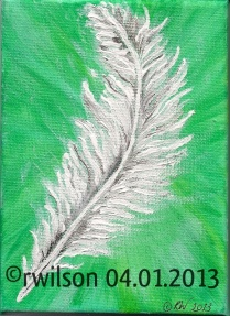 Green Feather (acrylic on box canvas)