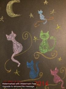 Magic Carpet Cats 2 (oil pastel)