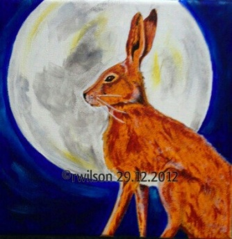 Moon Gazing Hare (acrylic on box canvas)