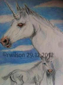 Unicorns (pencil crayon)