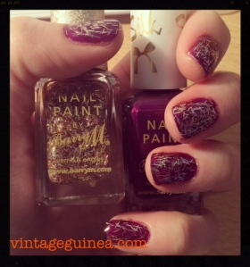 Base: Barry M Silk in Orchid Top Coat: Barry M Gold Glitter (Superdrug Ltd Edition)