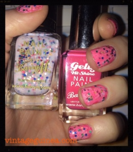 Base: Barry M Gelly in Grapefruit Top Coat: Barry M Sequin in White