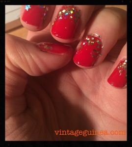 Base: Barry M Gelly in Blood Orange Top Coat: Barry M Gold Glitter