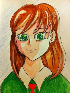 Manga Girl (mixed media on paper)